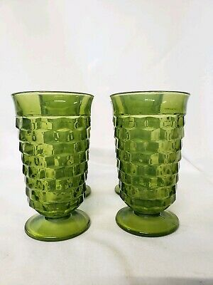 4 Indiana Water Glasses Avacado Green Glasses Fostoria Whitehall Cubist Footed