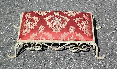 Vintage Shabby Chic Upholstered Wrought Iron Footstool Stool