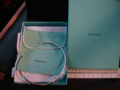 """Auth Tiffany&Co """"1837"""" Sterling silver collar choker/necklace 15"""" with pouch/box"""