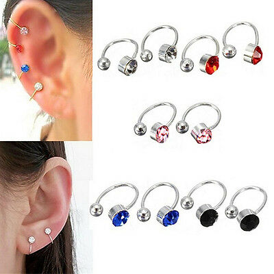 2X Ear Clip Cuff Wrap Earring Crystal Rhinestone Nose No pierce Party Jewelry si