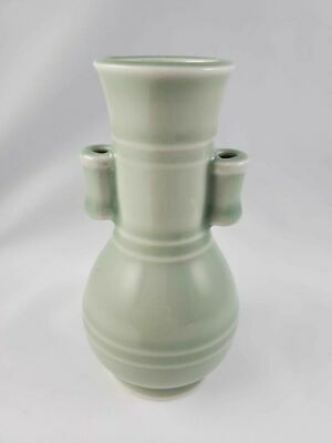 "Vintage Miniature Sage Colored Bud Vase 5 1/4"" Tall 3"" Wide Home Decor Pottery"