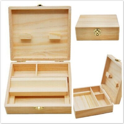 Wood Gift Tray Grinder Rolling Paper Stash Storage Kit Wooden Box Set Case SI