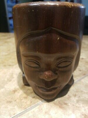 Hand Carved Wooden Wood Tribal Tiki Women Head Face Mug Cup Lady.