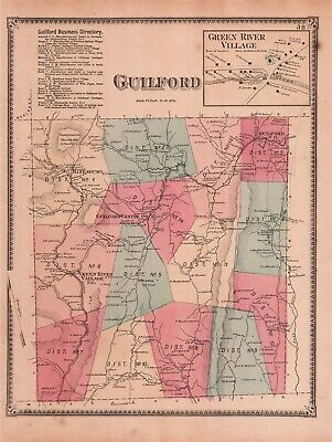 1869 Original Antique Hand-Colored F W Beers Map From Atlas - GUILFORD, Vermont