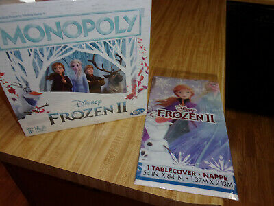 New Sealed Disney Monopoly Frozen 2 Board Game,8+,Also Bonus Frozen2 Table Cover