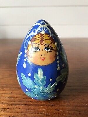 Vintage Russian Lacquer Blue Wooden Egg Lady Matryoshka Hand Painted