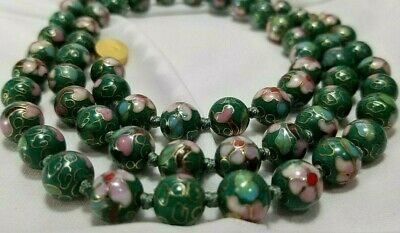 "Antique Chinese Cloisonne Green Beaded Silk Strung Necklace 30"" long!"
