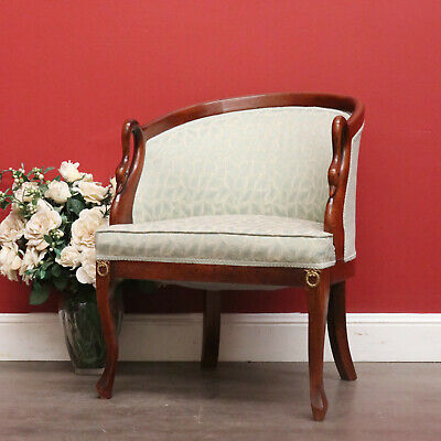 Vintage English Walnut Empire Style Carved Back Swan Armchair Bedroom Chair Seat