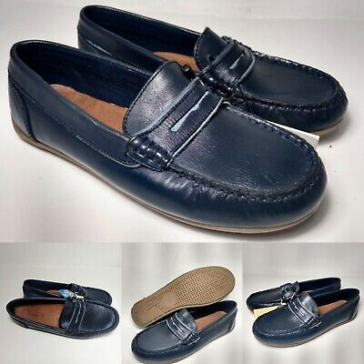 Zara Kids Boys Leather Loafers Navy Blue Size 1.5 EU 33 NWT