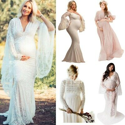 Pregnant Women Maternity Photography Ruffle Long Sleeve Prom Gown Long Dress