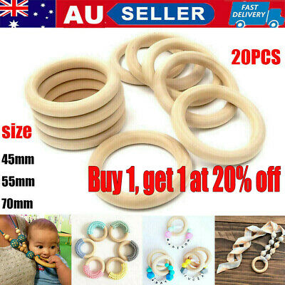 20pcs Baby Safety Teether Rings Wooden DIY Newborn Craft Toy Donut Chewing Ring