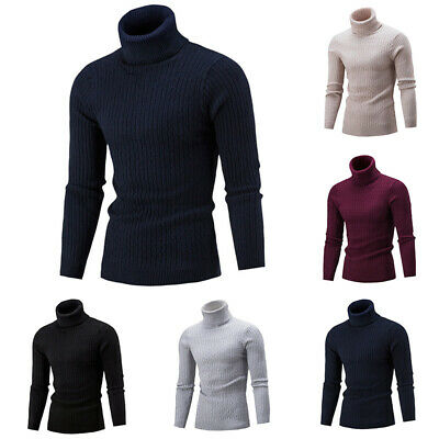 Men's Thermal High Collar Turtle Neck Blouse Long Sleeve Sweater Stretch T-Shirt