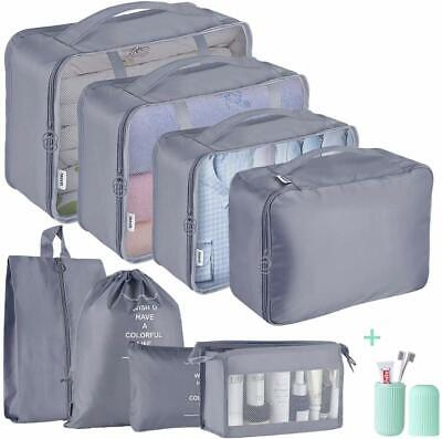 8pcs Grey Packing Cubes Luggage Organiser Travel Compression Storage Bags w/Cup