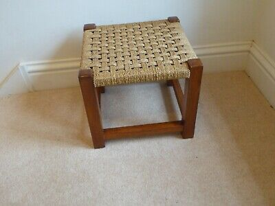 Vintage Anique Woven String Oak Stool 33cm square, 29cm Height.