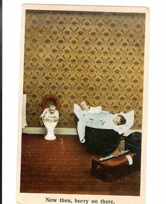 Antique Postcard Comic Baby in Toilet Now Then, Hurry On There Caption