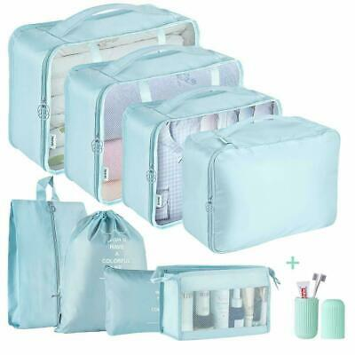 9pcs Blue Packing Cubes Luggage Organiser Travel Compression Storage Bags w/Zip