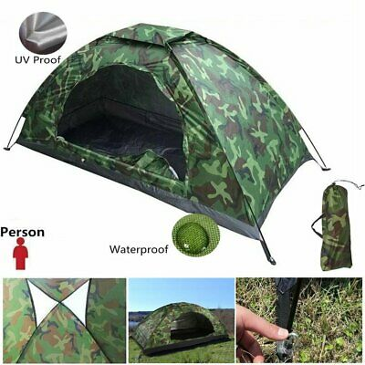 One Person Portable Outdoor Camping Waterproof Folding Dome Tent Camouflage