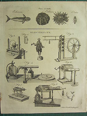 1797 Georgian Print ~ Electricity Various Equipment Apparatus ~ Echinus