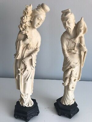 """14"""" CHINESE IVORY COLORED RESIN MAN & WOMAN STATUE / Signed"""
