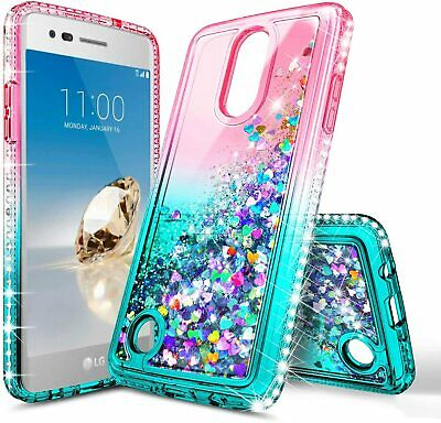 For LG Rebel 4 LTE / Phoenix 4 Case Liquid Glitter Bling Cover + Tempered Glass