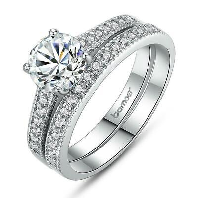 Accent AAA Cubic Zirconia Platinum Plated Wedding Ring Set B01