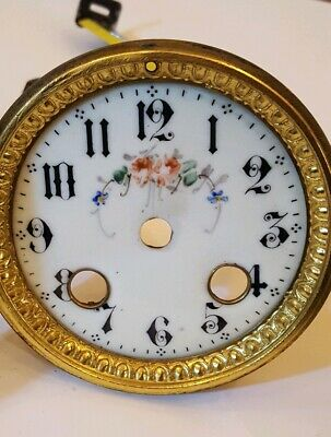 Antique French Enamel Painted Porcelain 8 Day Mantle Clock Dial - Clock Spares