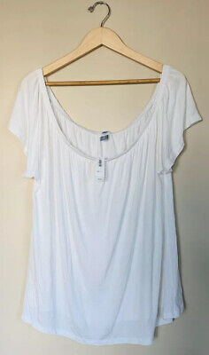 Old Navy NWT 17$ Solid White XXL Off Shoulder Stretch Lightweight Casual Top B10