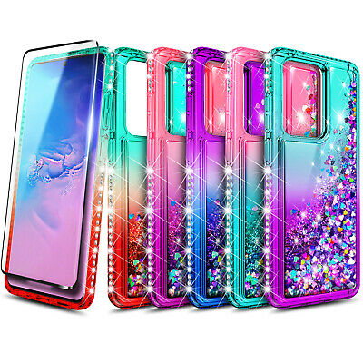 For Samsung Galaxy Note 10 9 8 S8 Plus S20 Ultra Liquid Glitter Case Soft Cover