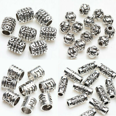 50/100Pcs Silver Plated Carving Beads Tube Loose Spacer Bead DIY Jewelry Making