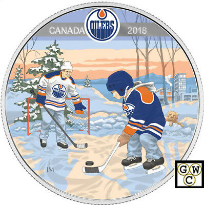 2018'Edmonton Oilers(R)-Passion to Play'Prf $10 Silver Coin 1/2oz .9999(18244)NT
