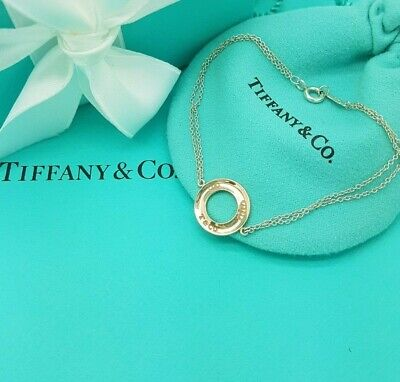 Tiffany & Co Rubedo 1837 Circle and Silver Double Chain Bracelet 6.75 inches