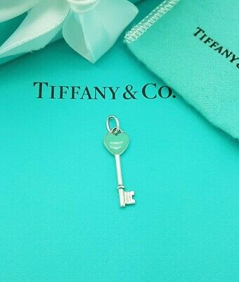 Tiffany & Co Sterling Silver Blue Enamel Heart Key Charm Pendant ... RRP £175