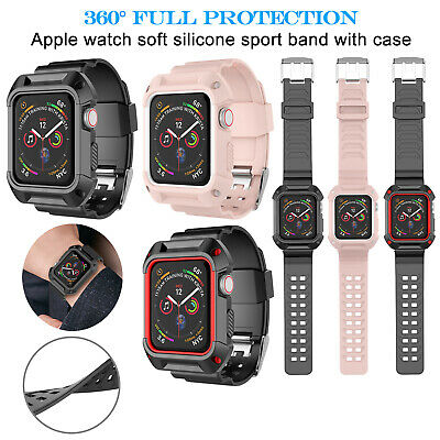 For Apple Watch Series 3/2/1 Silicone Sport Band with TPU Case Cover 42mm 38mm