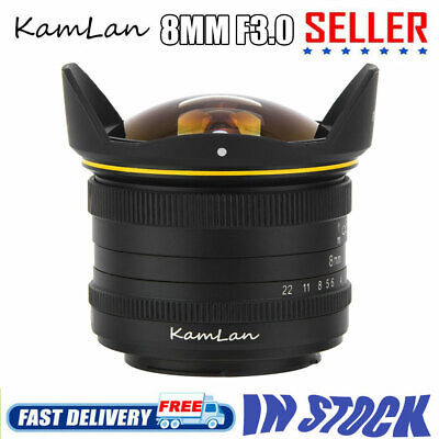 KamLan 8MM F3.0 APS-C Manual Wide Angle Fisheye Lens For Canon EOSM Mount Camera