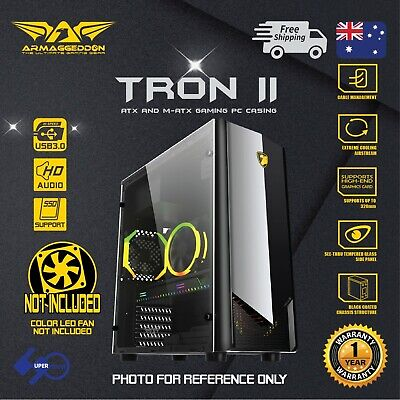 Computer PC Gaming Case Armaggeddon TRON II ATX Tower without fan