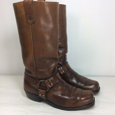 HH Double H Mens Size 8 Brown Leather Riding Harness Boots Western Cowboy  USA