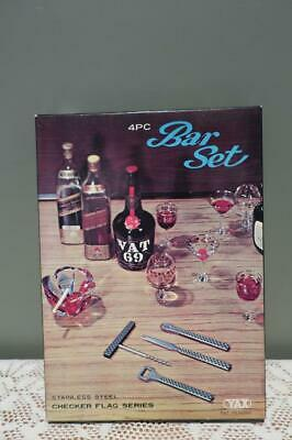 Vintage Bar Tool Set In Box - Wood Trim - Bar Ware - Collectable - Wrong Lid