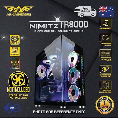 Gaming PC Case E-ATX Tower Tempered Glass Panel RGB without fan Nimitz TR8000