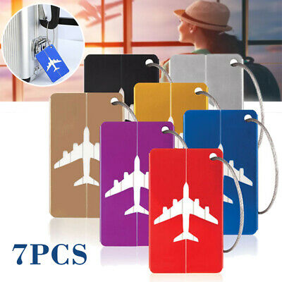 7Pcs Aluminium Luggage Suitcase Label Name Address ID Travel Bag Baggage Tags