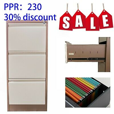 IGO 3 Drawer Metal Steel Filing Cabinet Office Furniture