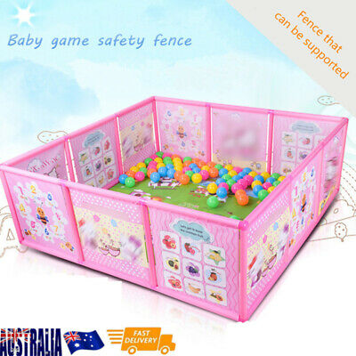 Children Kids Safety Play Pen Fence Playpen Baby Safety Pool Game Toddler Pink