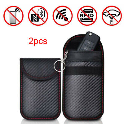 2pcs Car Key Signal Blocker Case Pouch Bag Faraday Cage Keyless RFID Blocking CO