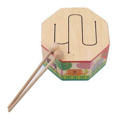 Wooden Handheld Percussion Instrument Toy Gift Hand Drum Bell FA