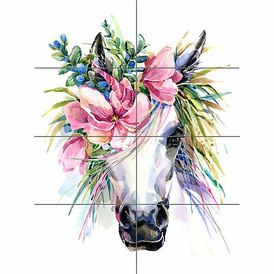 8 Sections Unicorn With Flower Wreath XL Giant Panel Poster