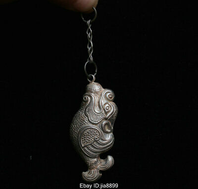 Old Chinese Folk Miao Silver Lucky Animal Dragon Fish Statue Pendant Amulet AAB