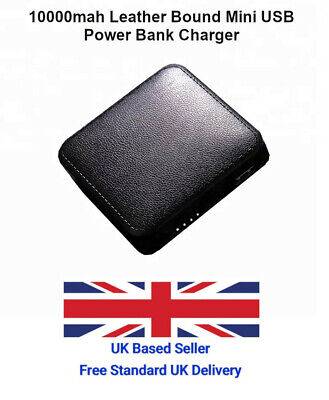 10000mAh Leather Bound Black Small Mini Pocket Size USB Power Bank Charger