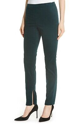 Theory Women's Pants Sz 12 High Waist Legging Green Poplar Stretch Oslo Corduroy