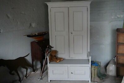 Antique Oak Hall Cupboard Settle