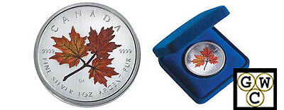 2001 Colorized Silver Maple Leaf 1oz .9999 Fine (Autumn-Red) (10483) (NT)