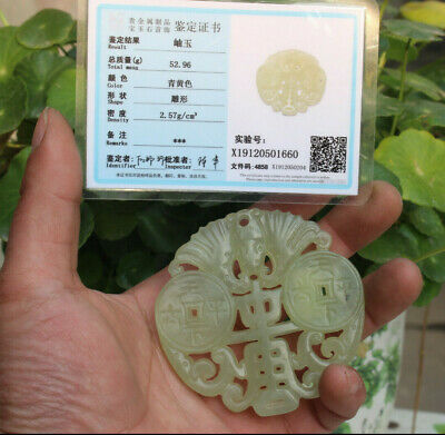 "Chinese delicate hand-carved coin ""太平天下"" carved Hetian jade statue c102"